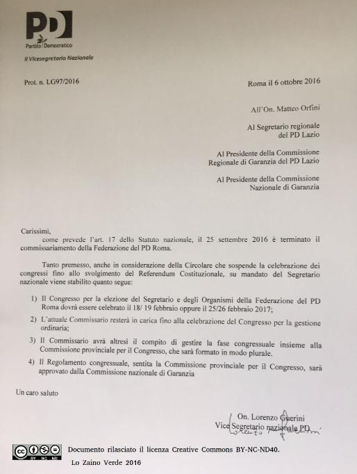 La circolare firmata Lorenzo Guerini che detta le regole per la fase precongressuale - Lo Zaino Verde
