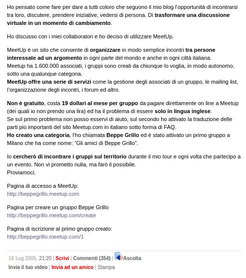 I meetup di Beppe Grillo nel 2005 - un post da 350 commenti, e ora il Movimento governa Roma