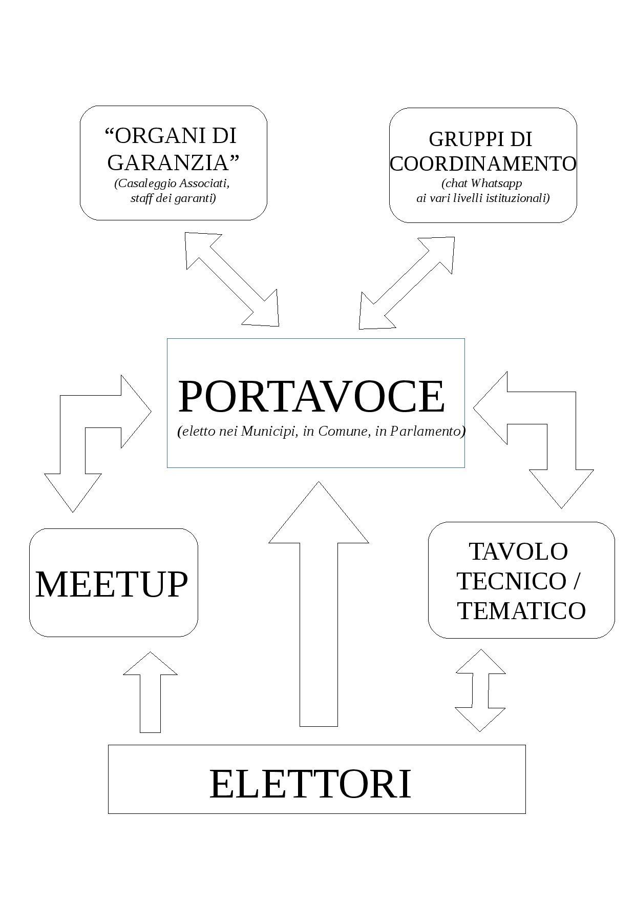 Flusso organizzativo del Movimento Cinque Stelle - mia elaborazione