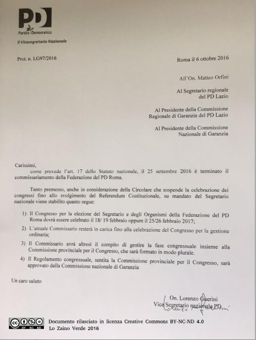 La circolare firmata Lorenzo Guerini che definisce la fase precongressuale del Pd Roma - Lo Zaino Verde