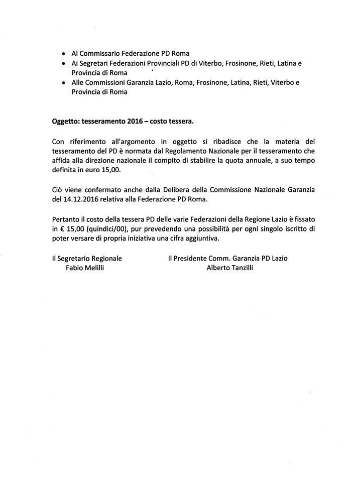 tesseramento PD Roma 15 euro