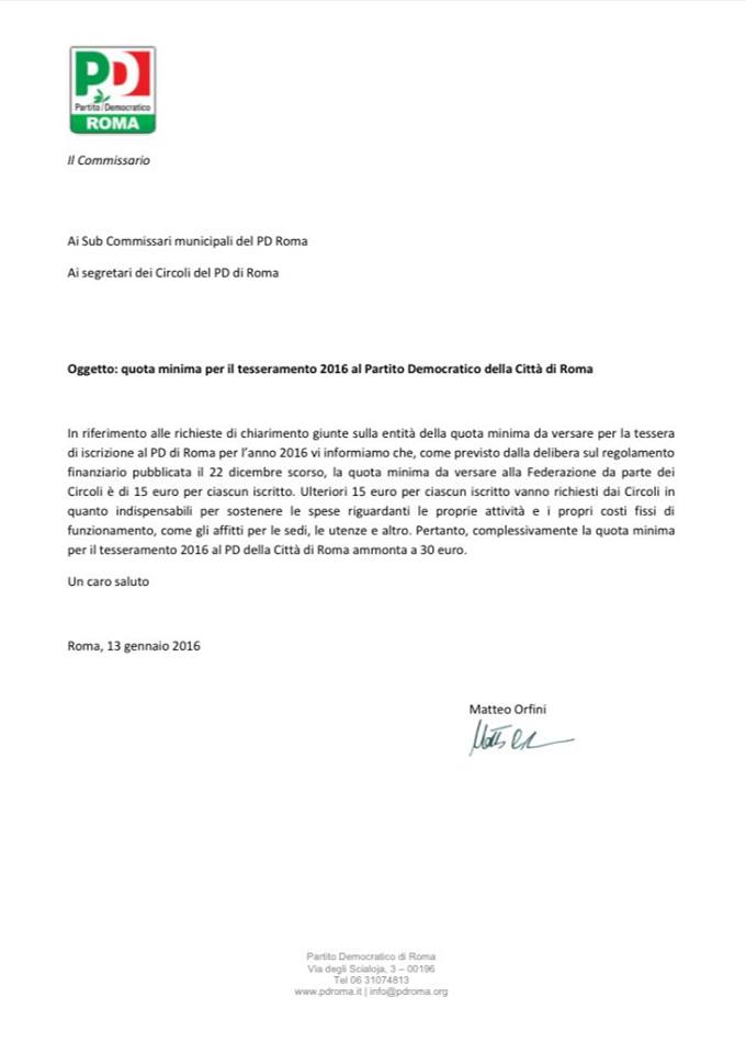 tesseramento PD Roma 30 euro